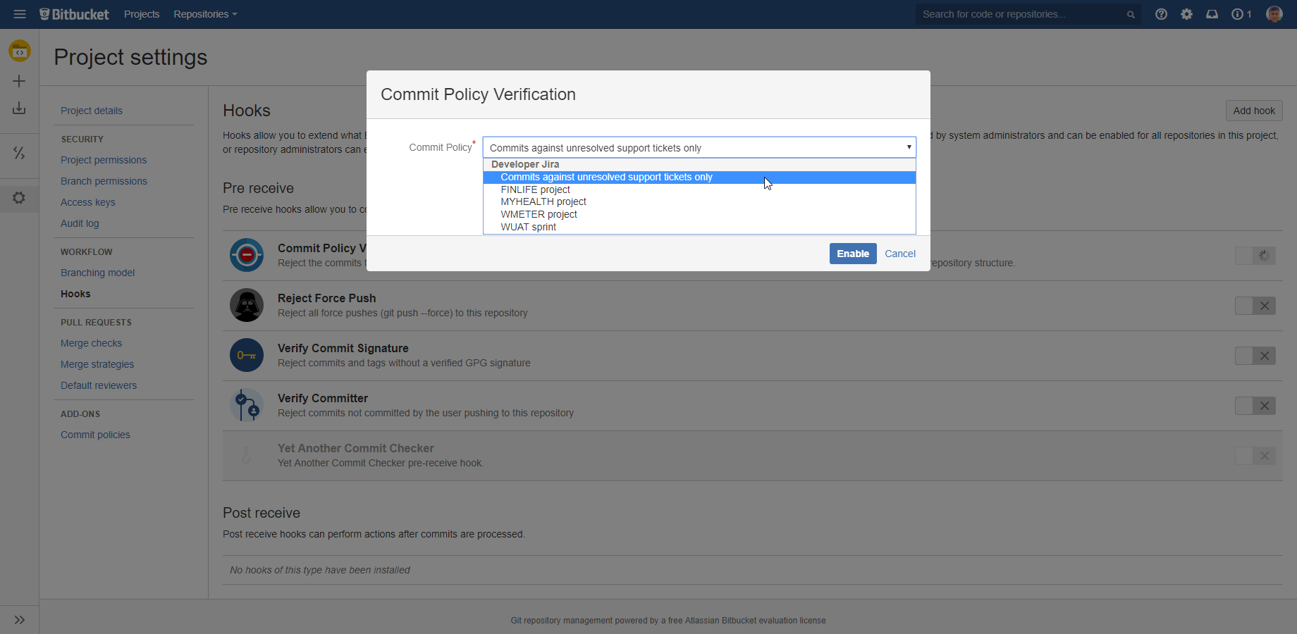 Git (with Bitbucket Server) - Commit Policy Plugin for Jira