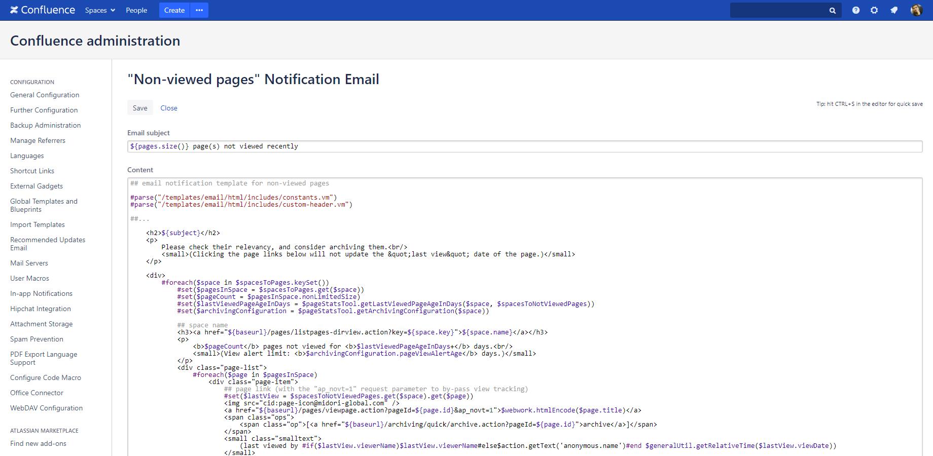 it notification email template - customization archiving plugin for confluence midori